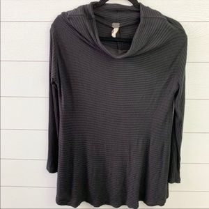 Free People Black Cowl Neck Long Sleeve Blouse